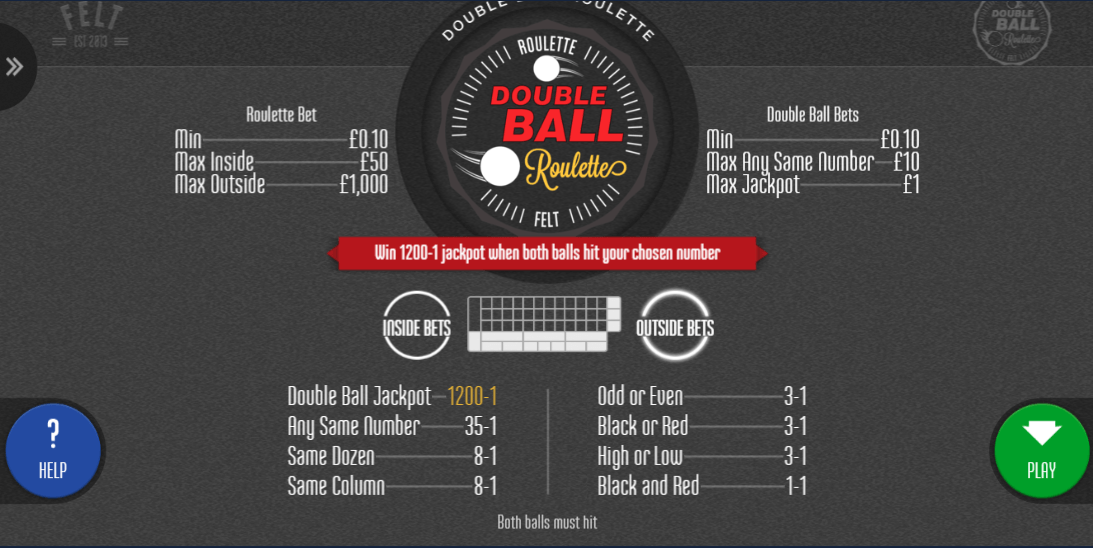 Double Ball Roulette Betting Options